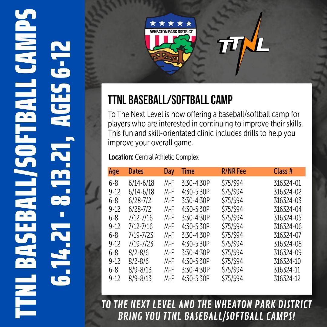 TTNL/Wheaton Park District Baseball/Softball Camps